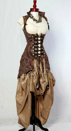 steampunk outfit: underbust corset vest with bustle and front bustle skirt