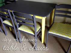 DIY: Painted Table & Chairs Makeover | Simply2B.com Table And Chairs, Dining Chairs, Chair Makeover, Diy Painting, Crafty, Garden, Furniture, Design, Home Decor