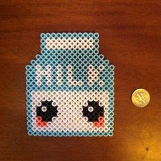 Kawaii milk carton magnet perler beads by daynaperlers maybe make it 1 bead wider so the M in milk looks better?