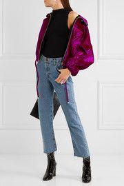 Croc-effect cotton-blend velvet bomber jacket