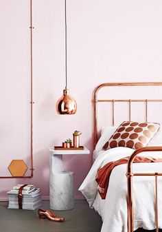 10 Perfect Bedroom Interior Design Color Schemes - Pink and copper work surprisingly well! Gold Bedroom, Bedroom Decor, Modern Bedroom, Bedroom Ideas, Master Bedroom, Bedroom Inspiration, Bronze Bedroom, Contemporary Bedroom, Bedroom Inspo