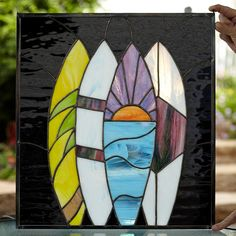 Surfboard Stained Glass Panel by StainedGlassDanaLin on Etsy, $365.00