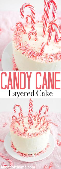 Looking for a showstopper at your next holiday party? Incorporate the minty taste of candy canes into this gorgeous, festive candy cane layered cake! | aheadofthyme.com via @aheadofthyme