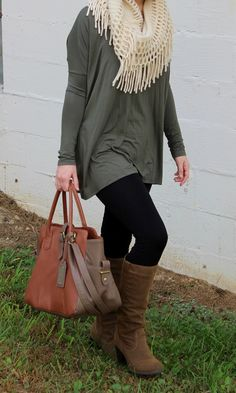 Piko top with infinity scarf, boots, and leggings. Perfect fall outfit.