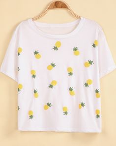 White Short Sleeve Pineapple Print Loose T-Shirt - Sheinside.com