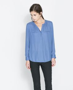 Image 1 of SHIRT WITH GATHERED NECKLINE from Zara