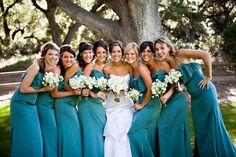 Teal Bridesmaids dresses