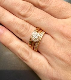 #SaturdayStack A match made in heaven! A rose gold Todd Reed Jewelry engagement ring and diamond eternity band stack beautifully with an Alex Sepkus Micro Windows band.