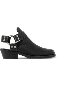 Balenciaga - Santiago Distressed Textured-leather Ankle Boots - Black - IT35.5