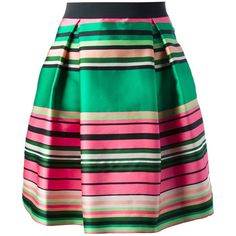 P.A.R.O.S.H. striped skirt ($355) ❤ liked on Polyvore featuring skirts, bottoms, stripes, knee length a line skirt, green a line skirt, green pleated skirt, green striped skirt and striped a line skirt