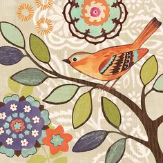 Found it at Wayfair - Bird Bliss Orange by Jennifer Brinley 2 Piece Painting Print on Wrapped Canvas Set Art And Illustration, Fabric Painting, Painting Prints, Paintings, Decoupage, Coloring Book Art, Bird Artwork, Bird Drawings, Bird Pictures
