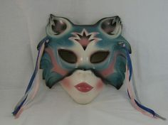 CLAY ART MASKS | Vintage Clay Art Cat Woman Porcelain Wall Mask Wine Teal |