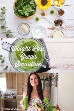 This simple weight loss green smoothie is so simple and tasty it may just become your new morning staple! Each ingredient was picked specifically for their health benefits to assist with weight loss Blend and enjoy! Click the image for more info. Green Smoothie Cleanse, Healthy Green Smoothies, Good Smoothies, Healthy Soup, Fruit Smoothies, Smoothie Cup, Weight Loss Smoothie Recipes, Best Smoothie Recipes, Detox Recipes