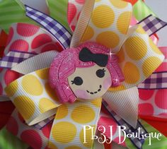 Girls Hair Bow Clip Large Pageant Style With Crumbs by pb3j, via Etsy.