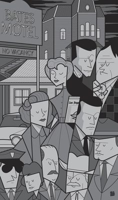 Minimal Hitchcock movie poster