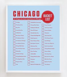 """Possible things to do in Chicago. """"Introducing the latest design to my """"Bucket List"""" series...the Chicago Bucket List! #chicago"""""""