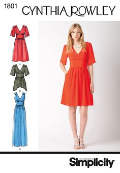 Simplicity 1801 Misses' Dress Cynthia Rowley. Going to try this for Silence in the Library Donna Noble.