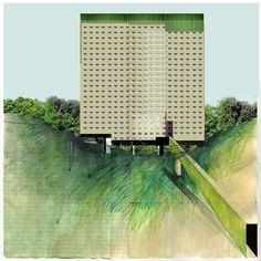 Beniamino Servino. Condominio intensivo in un parco extraurbano. Intensive condominium in a suburban park. 2012