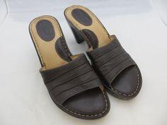 BORN Women's Brown Slides Mules Heels Slip On Soft Leather Sandals Sz 7 / 38 EUC #Born #MulesSlidesSlipOn