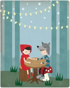Little Red Riding Hood & Wolf fecha 8 x 10 la por rosydesignsonline