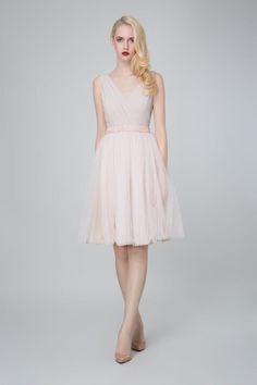 SADONI evening dress ZOE with powder pink tulle skirt ZELA