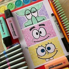 SpongeBob, Patrick, or Squidward? Comment your favorite character 😍 Lovely Stabilo doodle by ✨ Swipe for more… Doodle Art Drawing, Mandala Drawing, Cool Art Drawings, Pencil Art Drawings, Art Drawings Sketches, Easy Drawings, Drawing Ideas, Disney Drawings, Spongebob Characters Drawings