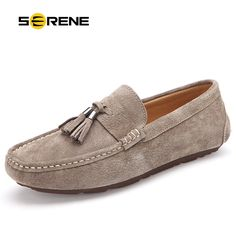 SERENE Brand Suede Leather Men shoes Driving Bean Shoes Loafers With Fur Warm Winter Casual Moccasins Presto Big Size Boat 38~45