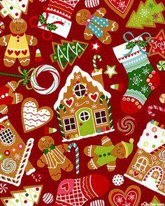 Christmas fabric gingerbread theme
