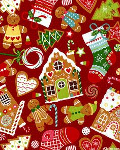Christmas fabric gingerbread theme