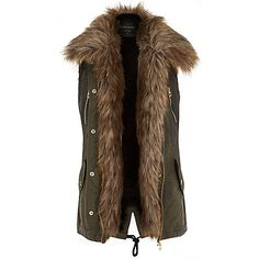 Khaki faux fur lined gilet £75.00