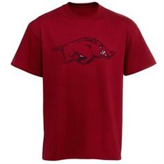 Arkansas Razorbacks Distressed Logo T-Shirt- Cardinal