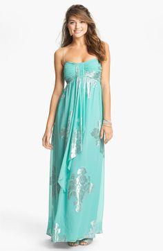 Eliza J Metallic Print Silk Chiffon Maxi Dress available at #Nordstrom