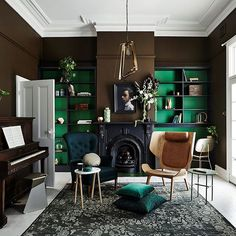 Earthy greens in all their glory in new Dulux colour forecast - The Interiors Addict Dark Interiors, Colorful Interiors, Living Room Inspiration, Interior Inspiration, Home Interior Design, Interior Decorating, Sweet Home, Home And Deco, Elle Decor