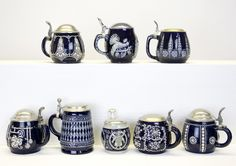 Beer Steins - we adore this particular style with round, friendly curves, striking design and arresting blue and white colouring.