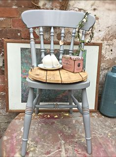 Paris grey day.. ☔️... cottage chairs £49 each.   Do check out our vintage painted collection by clicking the link below..   https://the-old-gatehouse.myshopify.com/collections/original-vintage-painted-furniture