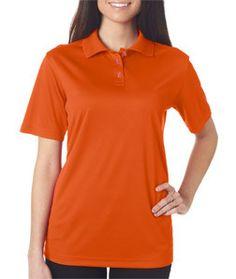 8404 Ultraclub Ladies Cool Dry Mesh Sport Polo Orange