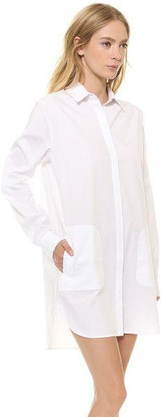 T By Alexander Wang Cotton Poplin Long Sleeve Shirtdress White in White | Lyst