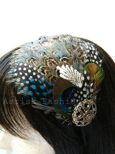 steam punk wedding fascinator   STEAMPUNK feather headband fascinator - Eclectic Traveler design with ...