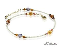 Anklet Jewelry Golden Crackle Crystal Beaded Anklet - Handcrafted adjustable golden beaded anklet created with golden rainbow seed beads, Swarovski Austrian crystals, quartz beads and sterling silver. Anklet Jewelry, Beaded Anklets, Wire Jewelry, Boho Jewelry, Beaded Jewelry, Handmade Jewelry, Beaded Bracelets, Necklaces, Jewelry Ideas