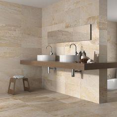 Matt Beige Stone Effect Ceramic Kitchen/Bathroom Wall and Floor Tiles. Wall And Floor Tiles, Wall Tiles, Color Tile, Bathroom Flooring, Bathroom Interior Design, Modern Bathroom, House Design, Home Decor, Cream Stone
