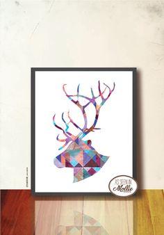 Geometric Reindeer Silhouette. Christmas gift by TANGRAMartworks