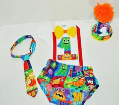 Check out this cool listing I found Baby Boy/Toddler Monster cake smash outfit with party hat by RYLOwear
