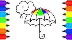 How to Draw Rainbow Umbrella Colorful for Kids - Coloring Pages Videos F...