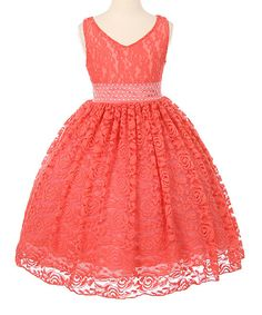 Take a look at this Coral Lace Sash Gown - Girls today!