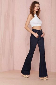 Nasty Gal Denim - What The Bell | Shop What's New at Nasty Gal WITH PEACH CROP TOP.