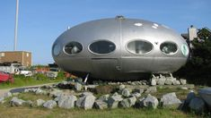 "⚜️  ""Prefab Futuro Spaceship Houses, made of fiberglass-reinforced polyester plastic, designed by Matti Suuronen; of 100 produced in the 1960s & '70s, only 50 survive."" (Press on text within the ""Visit"" area to see more spaceship houses.)  ""(via Elizabeth/Flickr & ttolk)""          NOTE: PRESS ""VISIT"" TO SEE PHOTOS OF OTHER SPACESHIP HOUSES & THE OTHER UNUSUAL BUILDINGS IN THIS COLLECTION, WITH PHOTOS OF THE INTERIOR OF SOME SPACESHIP HOMES, INCLUDING THIS ONE.      NTS:  ""V/RI"" section ✔️"
