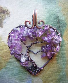 10% Off Amethyst Heart Shaped Tree of Life Wire Wrapped Pendant Jewelry Valentine's Day