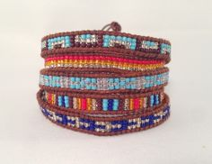 5X Wrap Blue, Red & Gold Navajo Seed Bead / Natural Brown Leather $85