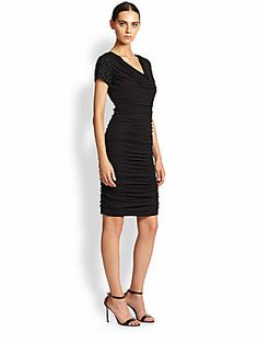 Teri Jon by Rickie Freeman Ruched Beaded-Sleeve Dress