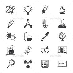 Science and Medical Icons Line — Vector EPS #icon #education • Available here → https://graphicriver.net/item/science-and-medical-icons-line/14848537?ref=pxcr Easy Science, Science Art, Science Icons, Logo Design, Graphic Design, Icon Design, Notebook Doodles, Line Illustration, Line Icon